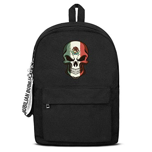 Mexican Skull Tattoo Flag Halloween Makeup Women Men Water Resistant Black Canvas School Backpack Travel Backpack -