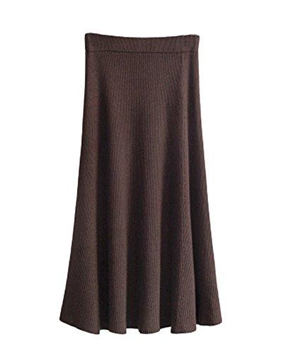 Femmes Hiver A-Line Maix Jupe En Tricot Stretch Pliss Longues Jupes Crayon Tricot Casual Knit Skirt Brun Fonc