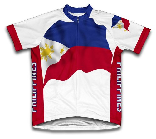 (ScudoPro Philippines Flag Short Sleeve Cycling Jersey for Men - Size 4XL)