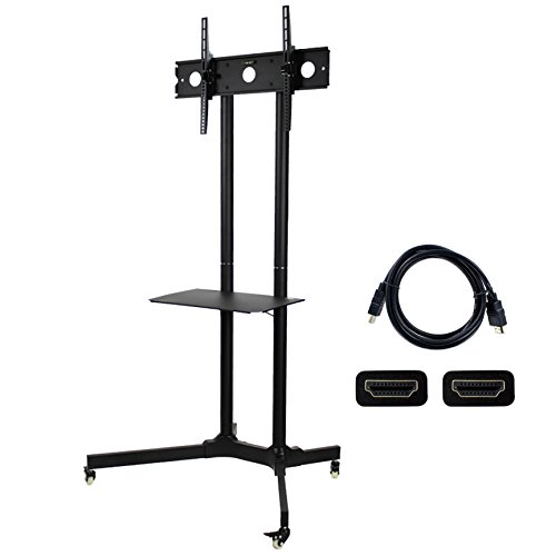 NavePoint Flat Panel TV Cart Height Adjustable 30'' to 65'' Mobile Stand w/Wheels HDMI