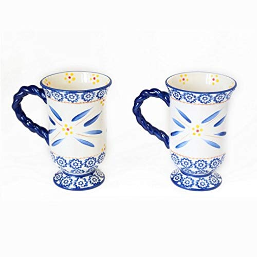 (Temp-tations Old World Blue Footed Pedestal Coffee Cafe Mugs Retired!)