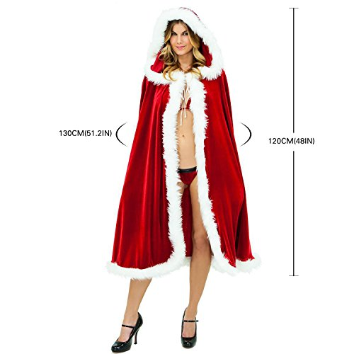 [Helisopus Women's Christmas Cloak Deluxe Velet Mrs Santa Hooded Cape Costume (120cm(48in))] (Seven Dwarfs Costume Ideas)