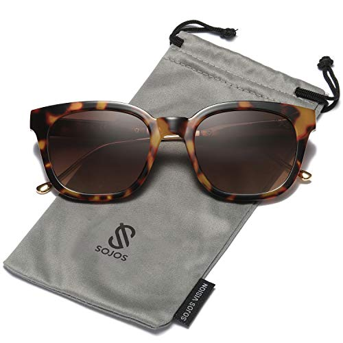 SOJOS Classic Polarized Sunglasses for Women Men Mirrored Lens SJ2050 with Tortoise Frame/Brown Polarized Lens