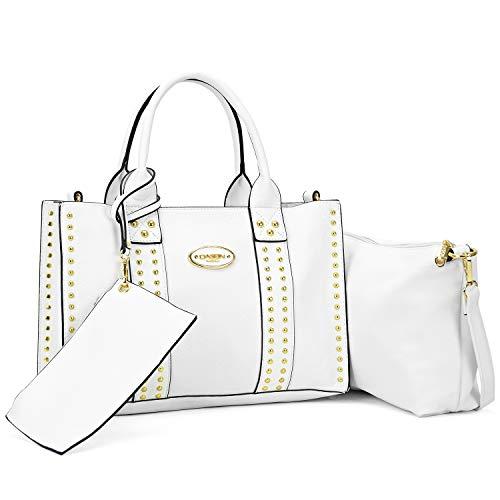 MMK collection Fashion Handbag Studded Tote Satchel~Handbag for Women~Signature Purse 3 pcs (White) ()