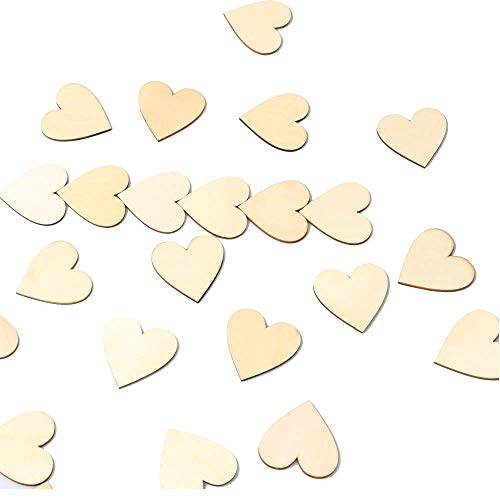 RERIVER 4336907177 2-Inch Wood Heart 100pcs Blank Unfinished Wooden Slices Discs Cutout Pieces Wedding Guestbook Signin Party Guest Greetings DIY Crafts Projects 100