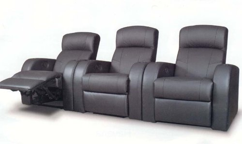 COASTER 600001 Cyrus Theater Seating In Black Top Grain Leather by Coaster Home Furnishings