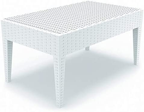 Atlin Designs Resin Patio Coffee Table in White, Commercial Grade