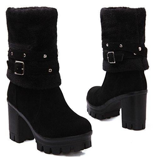 YE Damen Chunky High Heels Blockabsatz Boots mit Fell Schnallen Winter Warme 9cm Absatz Schneestiefel Schwarz