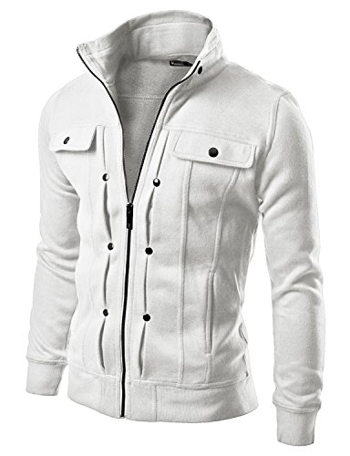 Doublju Men Comfortable Slim Fit Hight Neck Zip Up Jacket White (Bugaboo Parka)