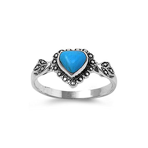 ver Fancy Heart Turquoise Stone with Leaves Design Ring, Face Height of 10MM, Band Width: 2MM ()