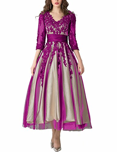Tea Length Evening Dresses 2019 Manual Appliqued Empire Waist Pleated Tulle V Neck Party Gowns Work Dresses for Women Lomg Sleeves Formal Gown YW38 Fuchsia Size 14