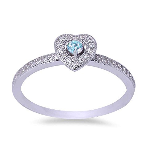 Cubic Zirconia Aquamarine Heart (Simulated Aquamarine & Cubic Zirconia Heart .925 Sterling Silver Ring Size 9)