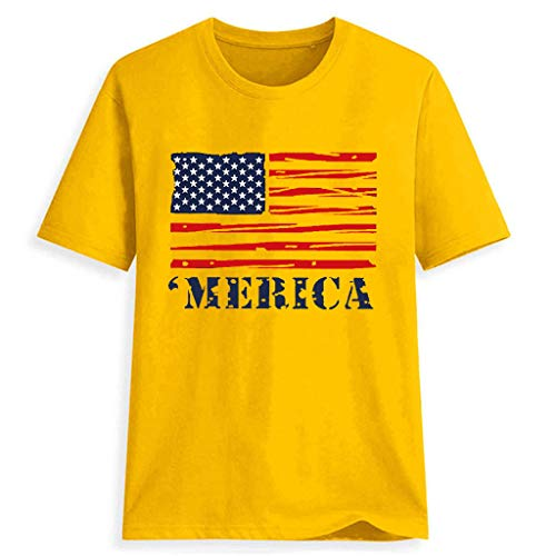 (Womens Sexy Tops 2019, YEZIJIN Women Plus Size National Flag Independence Day Print Short Sleeve T-Shirt Tops)