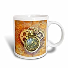 3dRose mug_212827_2 A Steampunk theme with metal cogs, gears and a lovely golden pocket watch Ceramic Mug, 15 oz, White
