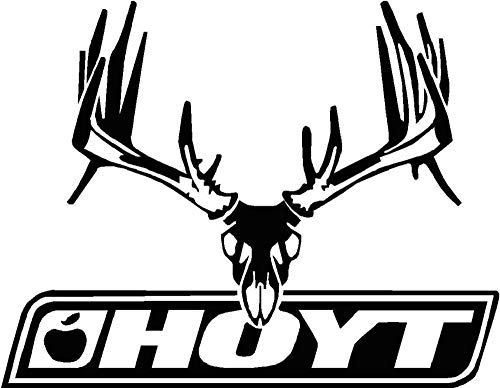 CarTats Deer Buck Antlers Euro Mount Premium Vinyl Decal Compatible with Team Hoyt Compound Bow Case Hunting Hunter Window Laptop Bumper Sticker Door Choose Size and Color (10x7.75, White)