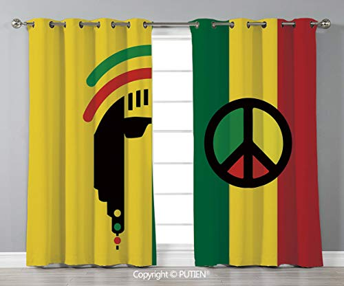 Grommet Blackout Window Curtains Drapes [ Rasta,Iconic Barret Reggae and Jamaican Music Culture with Peace Symbol and Borders Decorative,Red Green Yellow ] for Living Room Bedroom Dorm Room Classroom