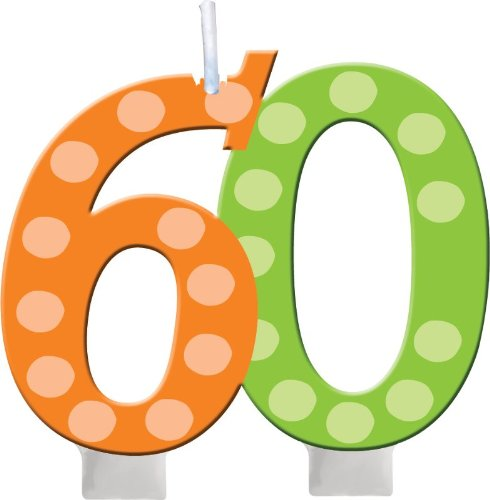 Creative Converting Bright and Bold 60th Birthday Molded Numeral Cake Candle