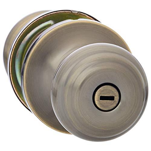 AmazonBasics Privacy Door Knob With Lock, Classic, Antique Brass