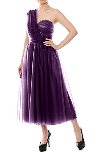 Wedding Formal MACloth Bridesmaid Convertible Eggplant Gown Dress Tea Tulle Party Length qqU8fY