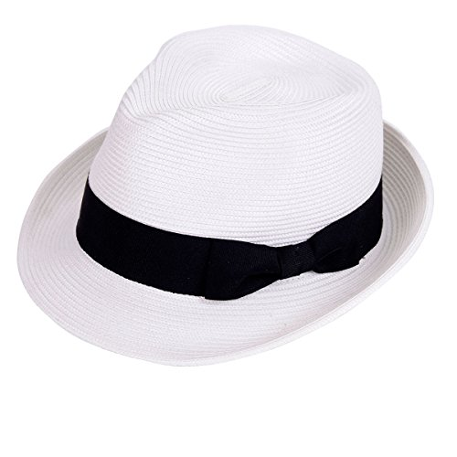 Straw Fedora Hat Sun Trilby Unisex Summer Beach Hats Fashion Panama with Short Brim for Men and Women(B-White) -