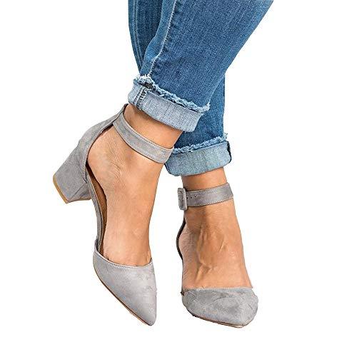 LAICIGO Women's Pointed Toe D'Orsay Buckled Ankle Strap Chunky Block Heel - Block Trendy Shoe High Heel