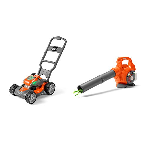 (Husqvarna Battery Powered Kids Toy Lawn Mower + Toy Leaf Blower with Sounds)