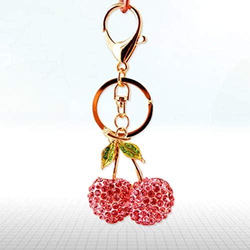 Strass Rote Kirsche Schlüsselanhänger Taschenanhänger Keychain Taschen Deko