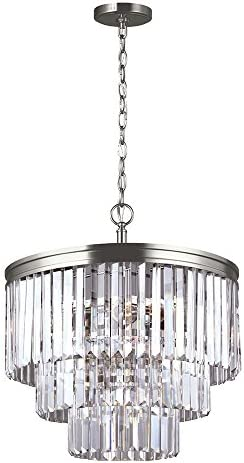 Sea Gull Lighting 3114004-965 Carondelet Four-Light Chandelier with Clear Beveled Glass Panels, Antique Brushed Nickel Finish