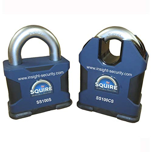 Squire SS100 CEN6 Padlock with Twin Restricted R1 Lock cylinders (Open Shackle Key to Differ)