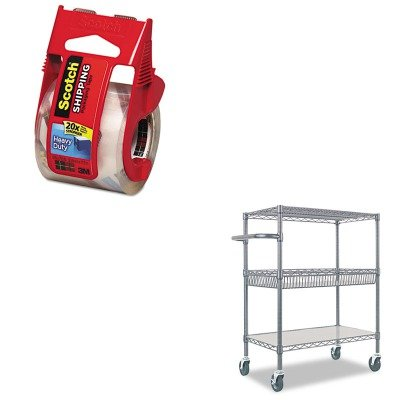 KITALESW543018BAMMM142 - Value Kit - Best Three-Tier Wire Rolling Cart (ALESW543018BA) and Scotch 3850 Heavy-Duty Packaging Tape in Sure Start Disp. 1.88amp;quot; x 22.2yds (MMM142) by Best