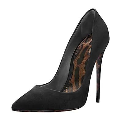 Onlymaker Women Leopard Print Sole Pointed Toe 12cm High Heel Stiletto Pumps Plus Big Size Shoes Black 5 M US