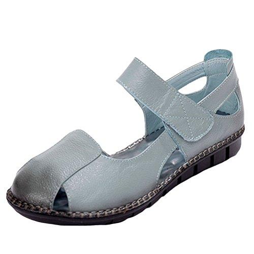 Mordenmiss Donna New Peep Toe Velcro Sandali Piatti Multi Colore 2 Blu