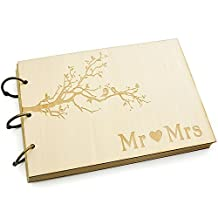 Wedding Guest Book, Rustic Wedding Guestbook Album Wood Engagement Anniversary Gift, Wedding Book 100pcs Papers