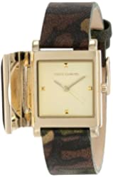 Vince Camuto Women's VC/5138CHCA Gold-Tone Pyramid Covered Dial Camouflage Leather Strap Watch