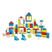 Award Winning Hape Kid's Wooden Building Block Set (100 pieces)