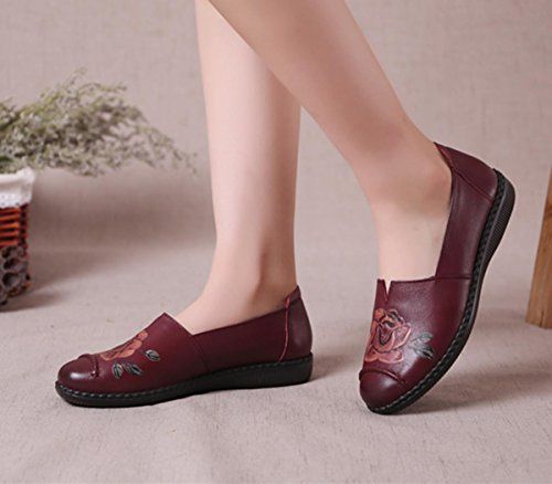 eur37uk455 Comfort 5 Primavera Di Eur Autunno New 5 Antiscivolo 38 Pompe Rosso Red Leisure uk Genuino Donne Bottone Nero Marrone Loafer Cuoio Partito Morbido Pattini Singoli Nvxie xSwRCFt0qH