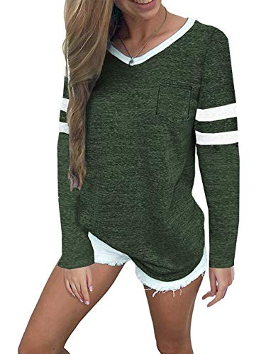 Famulily Womens Fall Tops Comfy Soft V Neck Football Tee Long Raglan Sleeve Sporty Shirts Tunic Tee Green L