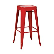 """Work Smart / OSP Designs PTR3030A4 9 Patterson Metal Backless Barstool, Red, 30"""", 4 Pack"""
