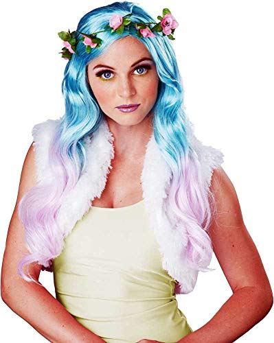 ESSA OAT clothes series Fairy Nymph Elf Two Tone Blue & Lavender Curly Long Hair Costume Wig Adult Women -