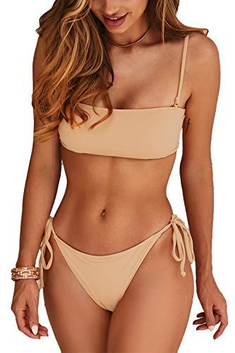 Cinched Bandeau Top - Almaree Womans Plus Size Lace Up Tie Side 2 Piece Swimwear Bandeau Swimsuit Orange XL