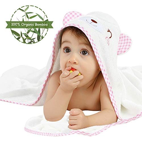 Landing Creations 100% Organic Bamboo Baby Hooded Bath Towels, Large Size 35''x35'' Cute Bear Face Towels For Infant & Toddlers In White with Pink