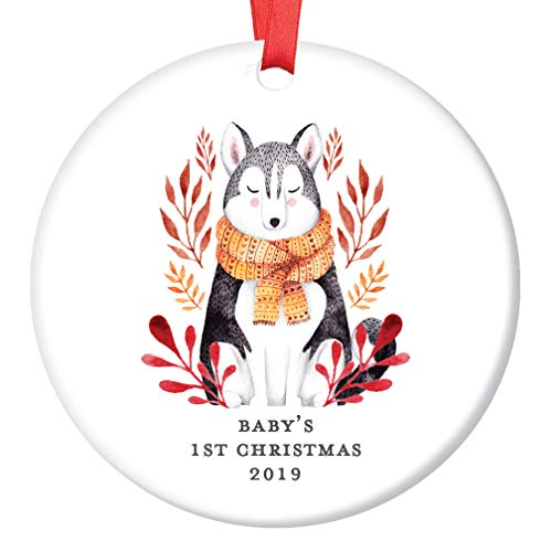 Baby's 1st Christmas Ornament 2019 Cute Gender Neutral Winter Baby Wolf Husky Dog Shower Present New Mommy Daddy Newborn First Holiday Ceramic Keepsake 3