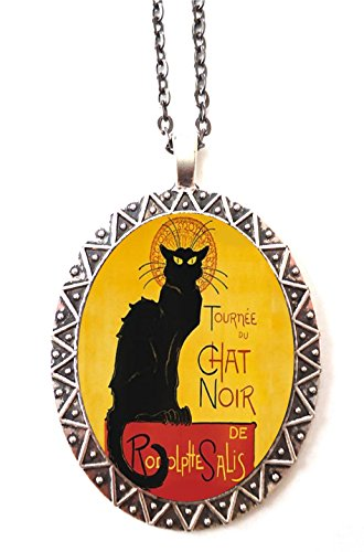 Chat Noir Necklace Pendant Black Cat French Cabaret Edwardian Art Nouveau Ad (Noir Black Necklace)