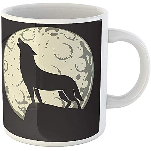 Funny Personalized Coffee Mug Full Silhouette of Wolf in the Moonlight Moon Cartoon Halloween Howling Alertness 11 Oz Ceramic Coffee Mug Tea Cup Souvenir Gift -