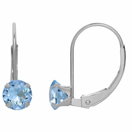 Aquamarine 10k White Gold Ring - 5MM Round Natural Blue Aquamarine 10K White Gold Leverback Earrings