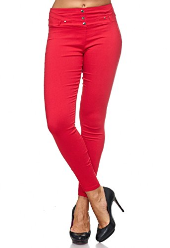 D2123 Arizonashopping Rosso Jeans Treggings Con Pantaloni Jeggings Donna Rivetti Hosen Da OxBCwOqz4