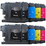 10 XL comp. Cartouches à puce pour Brother MFC J470DW J650DW J870DW J4410DW J4510DW J4610DW J4710DW J6520DW J245 J6720DW J6920DW Brother DCP J132W J552DW J752DW J4110DW J123WG1 J152W 4 x noir 2 x bleu 2 x rouge 2 x jaune