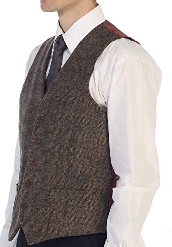 Gioberti Men's 5 Button Formal Tweed Suit Vest, Brown Checked, Large ()