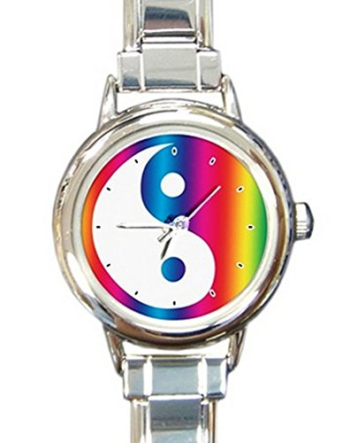 Colorful Ying Yang Round Italian Charm Watch with Stainless Steel 16 Link Wrist Strap Rainbow Yin Yan YingYang Design