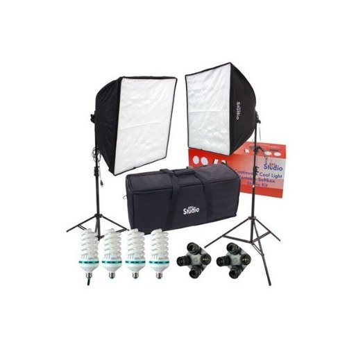 (RPS Studio Hybrid Still & Video Softbox Kit with 2 Softboxes, 2 Light Stands & Kit Bag Also Includes 4 70 W Daylight Lamps & 2 Socket)